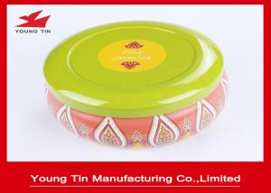 China Round Cute CMYK Printed Tin Boxes , 0.23 MM Recyclable Tinplate Candles Container on sale