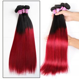 China Soft 7A Ombre Brazilian Virgin Hair 1B / Red Ombre Straight Hair 3 Bundles For Adult on sale