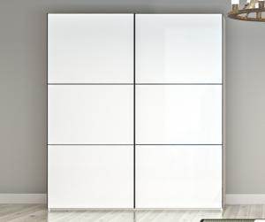 China Antique Style White Sliding Door Wardrobe / Colored Solid Wood Wardrobe Closet on sale