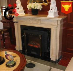 China indoor decoration handcarved wall mounted natural marble stone antique fireplace surround home decorate fireplace cover on sale