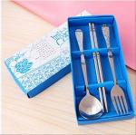 Stainless Steel Portable Spoon Chopsticks Forks Cutlery Set Student Children Adult Single Two or Three Sets