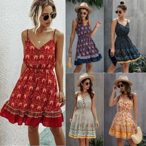 China 2020 Summer Fashion Print V Neck Button Elastic Waist Lace Up Dress on sale