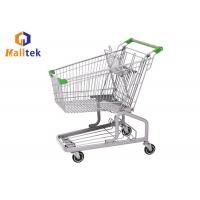 China Steel Grocery Mall German Style Trolley , Metal Shopping Cart With Seat Wheels on sale