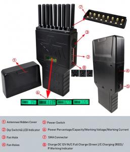 Quality 16 Bands Portable Cell Phone Jammer WIFI GPS UHF VHF 315 433 Signal Jammer for sale