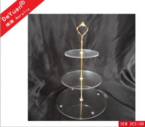China 3 Layers Acrylic Transparent Round Cake Stand With Golden Or Silver Scents on sale