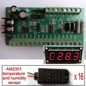 China Humidity Temperature Board 16AI AM2301 12bit RS485 RS232 TTL Modbus LED Meter on sale
