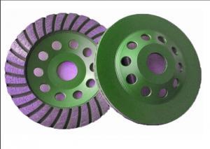 China 105mm 4 Diamond Turbo Cup Wheel , Diamond Concrete Grinding Disc Green Color on sale