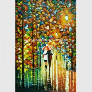 China Handmade knife art painting on Canvas Colourful Night View for Wall Decoration on sale