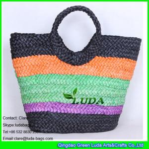 China LDYP-005 striped colored tote bag cornhusk straw hobo beach bags on sale