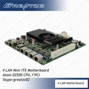 China Professional Mini ITX Intel Atom D2550 Motherboard DC 12V PCI For 4 LAN on sale
