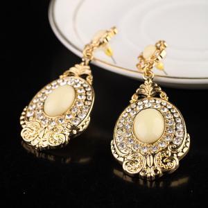 China Dubai fashion gold jewelry big gold plating pendant earring,rhinestone pendant earring on sale