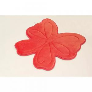 China Embossed Butterfly Memory Foam Bath Rugs , Memory Foam Carpet For Kids Cute Pattern Red Color on sale