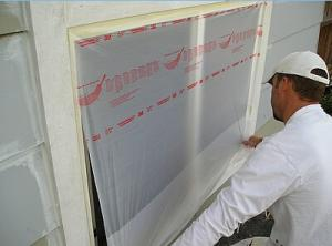 China PE Film Large Area Protection From Painting Drips Auto Plastic Masking Film Pretaped Masking Film on sale