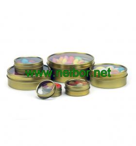 China custom printing round shallow tin container with clear window for candy sweets packaging on sale