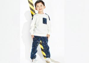 China White Top Boys Party Clothes , 100 Polyester Boys Sweat Suits Pant And Shirt on sale