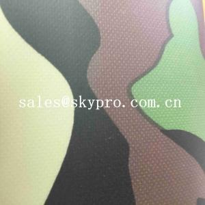 China Thin 0.5mm Thick PVC Coated Fabric Plastic Sheet Camouflage 210T Polyester Printed Fabrics on sale