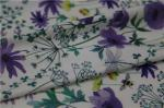 Digital Print PU Leather With Purple Flower Style For Light Coat , Raincoat
