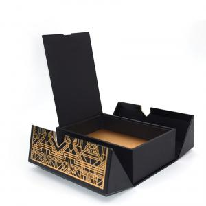 China Folded Magnetic Closure Black Wine Bottle Gift Box / Wine Display Box Packaging For Liquor on sale