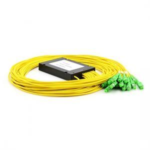 China Telecommunication Fiber Optic PLC Splitter 1X2/4/8 Plastic Box Low Insertion Loss on sale