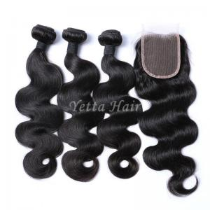 China Malaysian Body Wave Hair Bundles With 4 x 4 Closure Unprocessed Human Hair Weave on sale