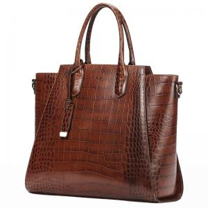 China Hot Selling Brown Crocodile Skin Handbag PU Leather Bags for Woman Simple and Elegant Tote Bag Large Shoulder Bags on sale