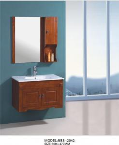 China Oak Wooden Square Sinks Bathroom Vanities ceramic basin 2 doors on sale