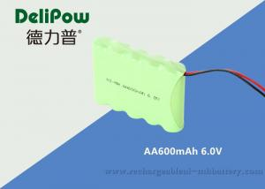 China 600mAh 6 AA Rechargeable Battery Pack , 6v Nimh Battery Pack For LED Lighting on sale