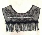 Fringe Black Crochet Lace Collar Necklace 100% Polyester With Tassel