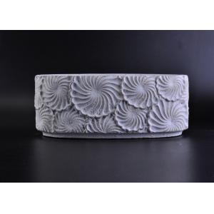 China Handmade Engraving Big Concrete Candle Jar Congeneric Ellipse on sale