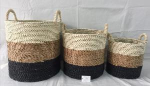 China rush & maize woven storage tubs,round basket Rush and paper hand woven storage basket  with handle, round shape on sale