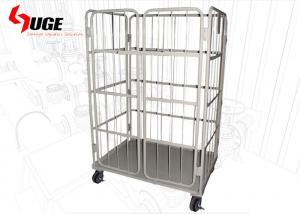 China Space Saving Customized Roll Container Trolley /  2 Door Roll Cage Pallet With Chain on sale