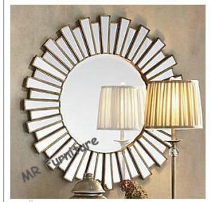 Quality 36 Inch Wooden Strips 3d Mirror Wall Art , Modern Wood Framed Wall Mirrors for sale