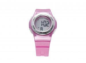 China Round Pink PU Women Waterproof Sport Watch With LCD Alarm Gift Wristwatch on sale