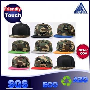 China Camouflage Acrylic Fabric Snapback Baseball Caps 7 Holes Closure Available on sale