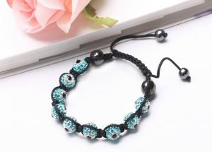 China Handmade Fashionable Crystal Bridal Evil Eye Shamballa Bead Bracelet Jewelry NP10068 on sale