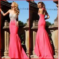 Prom Dress Sweetheart Sheath Pink Satin Court Train Crystal Evening Party Gowns