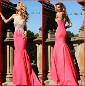 China Prom Dress Sweetheart Sheath Pink Satin Court Train Crystal Evening Party Gowns on sale