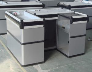 China Sliver Grey Smart Supermarket Checkout Counter With PVC Bumper on sale