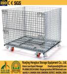 Wire Mesh Container, Metal Storage wire container,  foldable warehouse storage  steel wire mesh basket folding wire cage