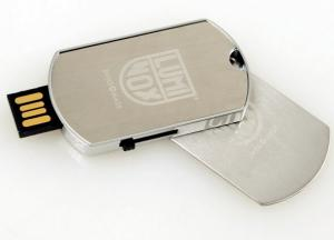 China Portable Dog Tag Chain style Metal USB Flash Drives 16GB With Large Print Area on sale