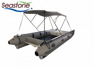 China Quick Inflation Inflatable Catamaran Boat Jockey Seat Console Speedy Electric Pump on sale