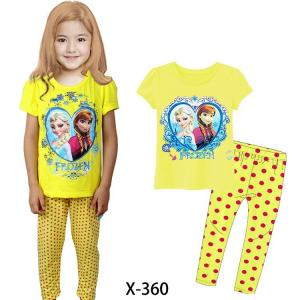 China Yellow Girl Frozen Summer Pajamas Set Clothes set X-360 on sale