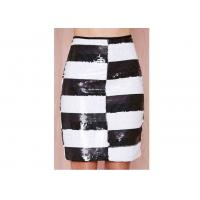 Striped Polyester Womens Dresses Skirts Washable With Side Zipper