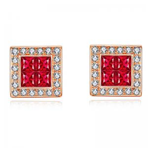 China Ruby And Diamond Cluster Earrings , Rose Gold Authentic Ruby Earrings on sale