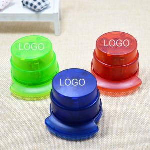 China Mini green needle-free stapler 5*5.7cm ABS colorful logo customized on sale