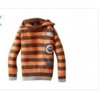 China  OEM Orange And Brown Stripes Long Sleeve Hooded Knitted Baby coat Wear For Boys  on sale