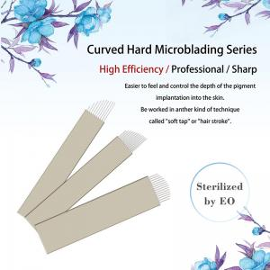 China Private Labeling Nano Dia. 0.18mm 10 / 12 /13 / 14 Pin Hard Microblading Blades Gold Hard PMU Blades For Eyebrows on sale