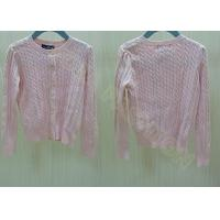Crew Neck Cable Knit Pink Buttons Up Kids Holiday Sweaters Cardigan