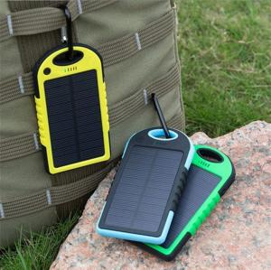 China 2016 Solor Charger 5000mah Portable Waterproof Solar Power Bank Backup Dual USB Powerbank on sale