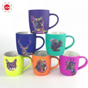 China Innovative hot sale soft touch spray glazed custom printed ceramic coffee mug with animal decal on sale
